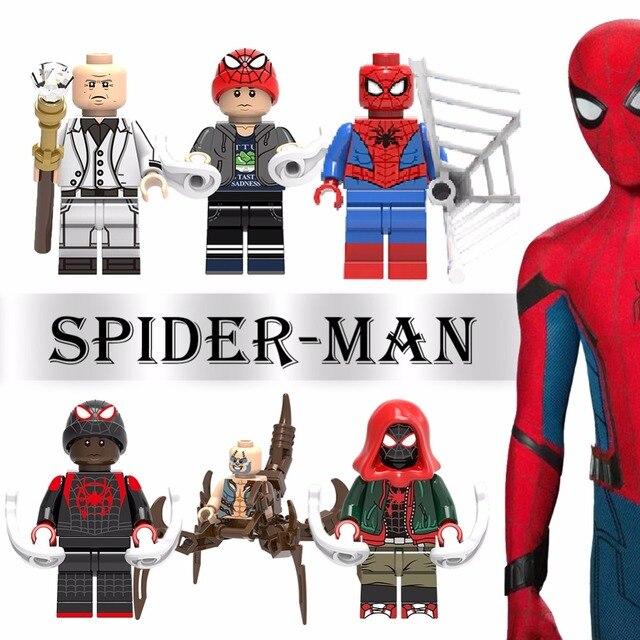 Para Legoing Spiderman Super-heróis Homem De Ferro Thor Loki Deadpool Gwen Venom Spider man batman Avengers Building Blocks Brinquedos Figura