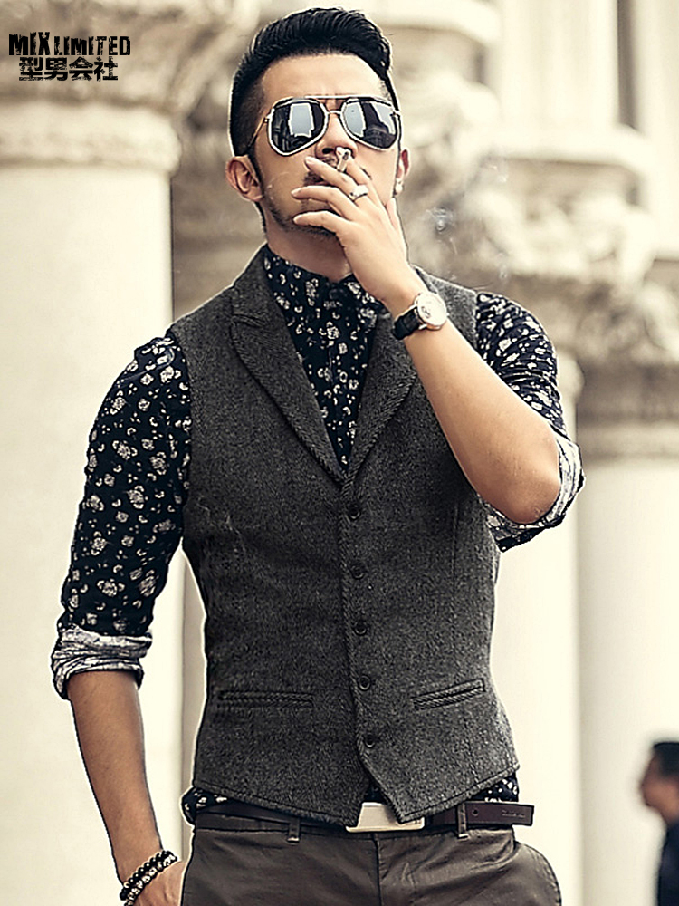 Men Brand Sleeveless Jacket Waistcoat Men Suit Vest Male British Style Slim Woolen Cotton Single Breasted Vintage Vest M36