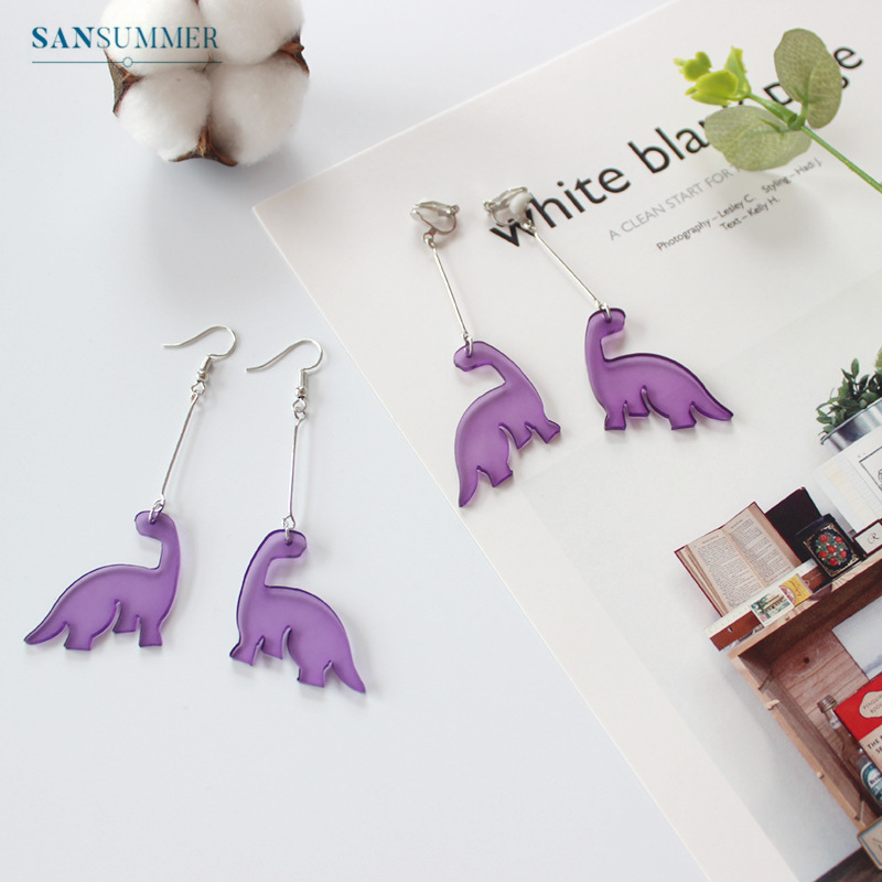 Fashion Earrings For Women Stud Earring Personality Funny Purple Dinosaur Girly Women Jewelry Exquisite Aretes De Mujer Gift