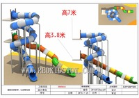 Shipped to Singapore Customized Big Strong Plastic Tunnel Slide for Adults Top Quality Playground HZ 70228e