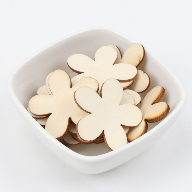 15/20/25/35mm 50pcs Natural Wooden Flower Pattern Scrapbooking Art Collection Craft For Handmade Sewing Decoration