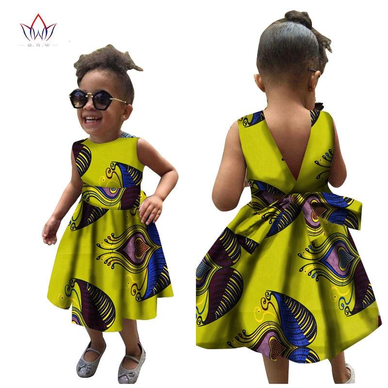 2019 Afrikai nők ruházati gyerekek dashiki Hagyományos pamut ruhák Afrika nyomtatási ruhák Gyermekek nyári BRW WYT22
