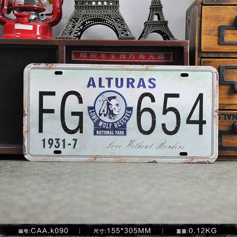 ALTURAS FG 654 Vintage License Plate Retro Iron Painting Poster Wall Sticker tin sign Bar Cafe Wall Decor 15X30 CM