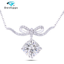 DovEggs Cute Party Sterling Solid 925 Silver 2ct Center 7.5mm GH Color Elegant Bowknot Moissanite Pendant Necklace for Women