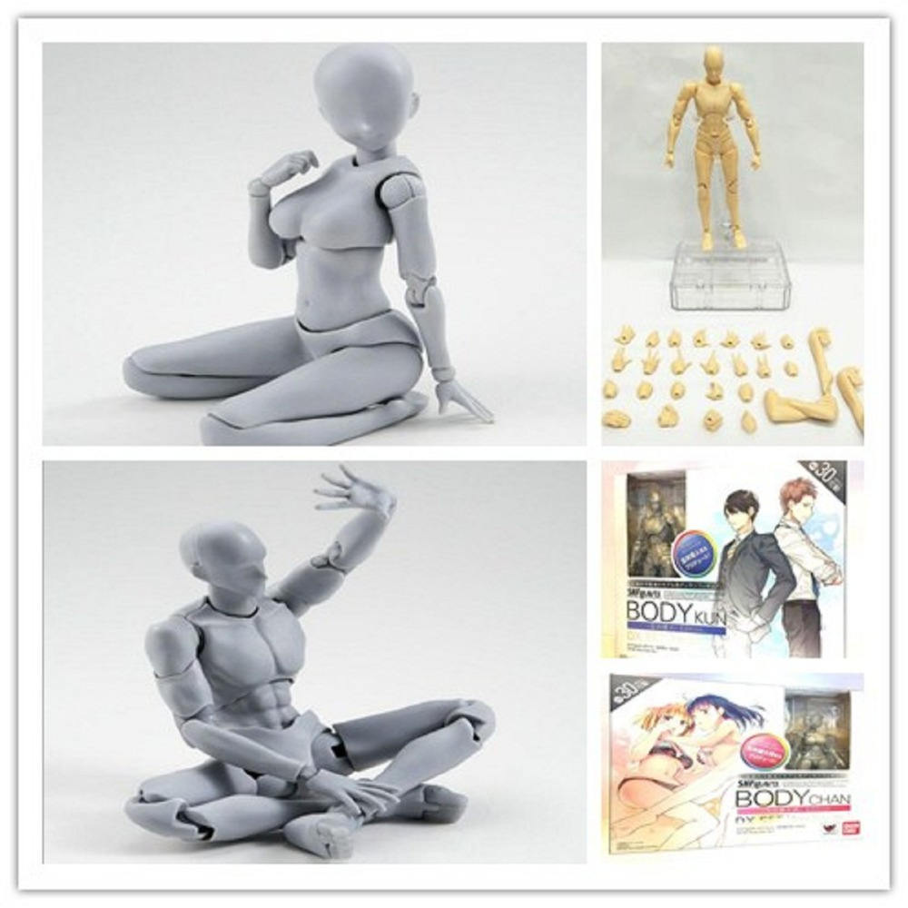 Original BODY KUN Takarai Rihito BODY CHAN Mange Drawing Figure <font><b>DX</b></font> BJD Pale Orange & Gray Color PVC Collectible Model <font><b>Toy</b></font> gifft image
