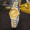 StarKing Cuarzo de Las Señoras Relojes de Oro de Diamantes Pulsera de Las Mujeres Reloj de pulsera de Lujo Vestido roleingly Reloj montre femme BL0646 de marca