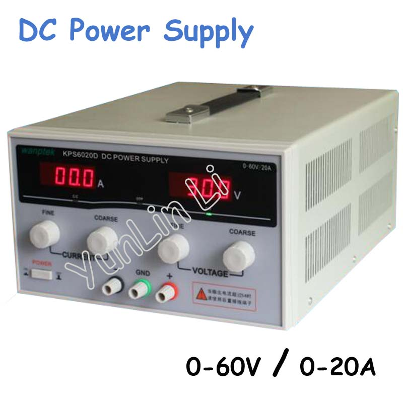 New High-Power Switch DC Adjustable Precision Digital Power Supply 60V 20A  1200W with US/EU/AU Plug