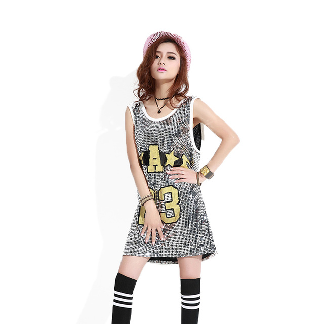 Mujeres hip-hop lentejuelas Tops letra 23 largo SequinT-Shirt vestido  negro plata 9666cf45316