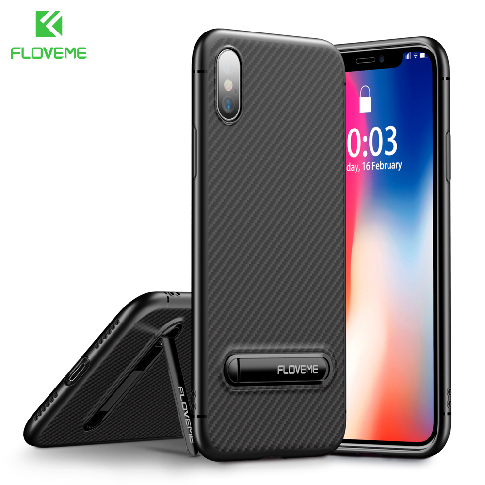 FLOVEME Carbon Fiber Soft Silicone Case For IPhone 8 7 8 Plus Business Stand Phone Cover For IPhone X 6 6s Plus Case Capa Conque