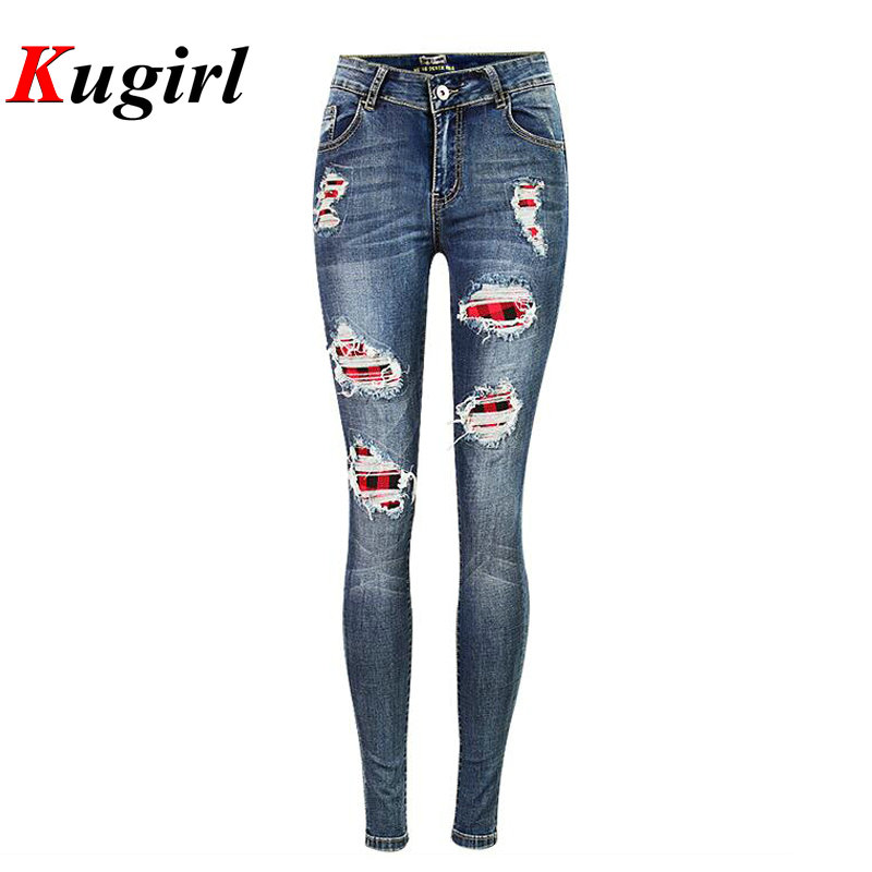 Plus Size Vintage Ripped irregular Jeans Mid Waist Women s Gray blue Denim Skinny Distressed Jeans