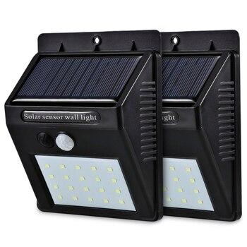 Светодиодный светильник на солнечной энергии с датчиком движения PIR, настенный светильник, 20 светодиодов, для улицы, водонепроницаемый, эне...