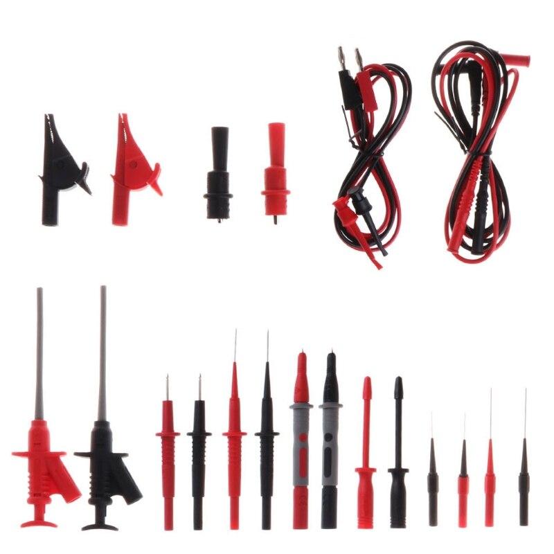 22 pièces multimètre voiture Test accessoire ensemble 4mm plomb câble Alligator Clips Kit de sonde