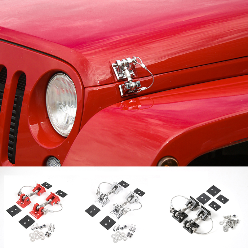 SHINEKA Retro Style Hood Lock Latch Catch Engine Protection Hood Pin Kit  for Jeep Wrangler JK Accessories Free Shipping windshield pillar mount grab handles for jeep wrangler jk and jku unlimited solid mount grab textured steel bar front fits jeep