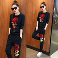 SusanDick New Fashion Spring Autumn Women Suits Embroidery Sequins Roses Cotton Pullovers & Pants 2 Piece Set Runway Tracksuit