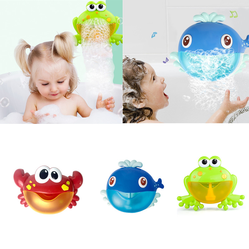 Baby Bath Toy Bubble Crab Frog Whale Funny Music Bath Bubble Maker Pool Swimming Toy Pool Bathtub Soap Machine Toy for Child Kid