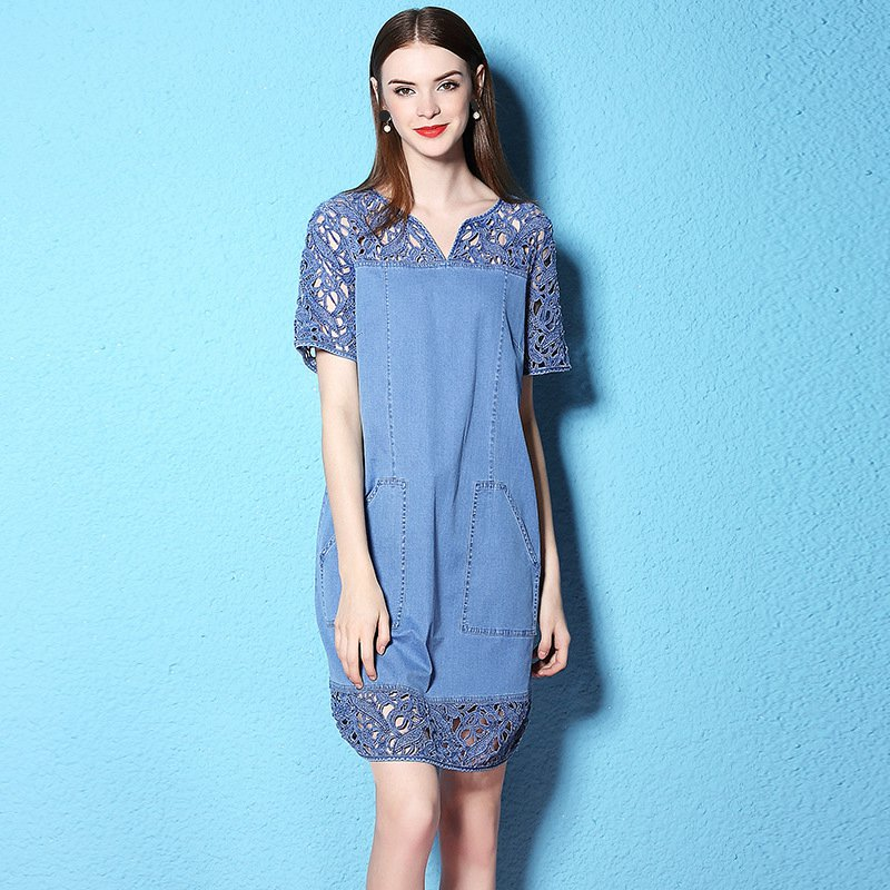 Summer and Autumn large size dress loose large pocket embroidery lace patchwork thin denim Dress NW17B1129
