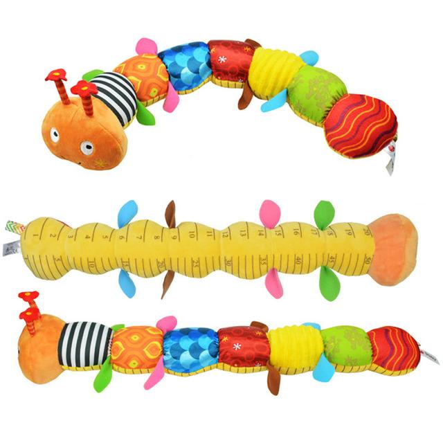 55 cm soft toys material musical lagarta do bebê com sino do anel bonito dos desenhos animados animal de pelúcia boneca criativo educacional cedo