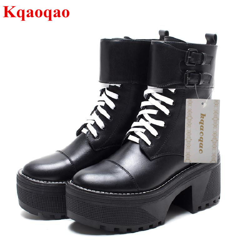 High Heel Women Autumn Winter Boots Platform Shoes Front Lace Up Ankle Boots Belt Buckle Design Luxury Brand Star Runway Shoes yanicuding round toe women flock ankle booties metal short boots zip design luxury brand fashion runway star autumn shoes flats