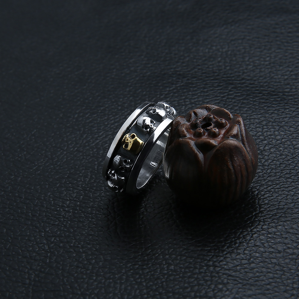 Image 5 - Sterling Silver Jewelry 925 Silver Ring Steampunk Men Rings  Rotatable Skull Ghost Thai Silver Ring Men Laser Engrave Name  Logojewelry armoirejewelry kingdomjewelry tube