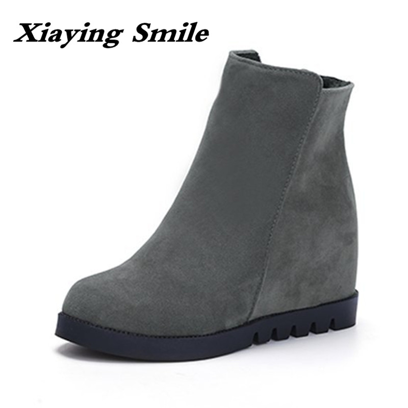 Xiaying Smile Winter Style Woman Short Boots Casual Fashion Cool Increased Internal Ankle Shoes Zipper Flock Rubber Women Shoes xiaying smile summer woman sandals square cover heel woman pumps buckle strap fashion casual flower flock student women shoes