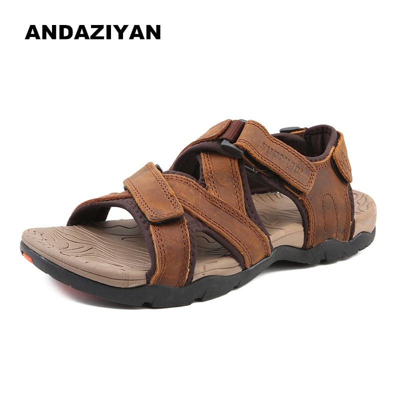 Andaziyan Sandálias Couro E Homens dark Brown light Preto Chinelos De Sapatas Dos Brown Confortáveis q1HnYrHIw