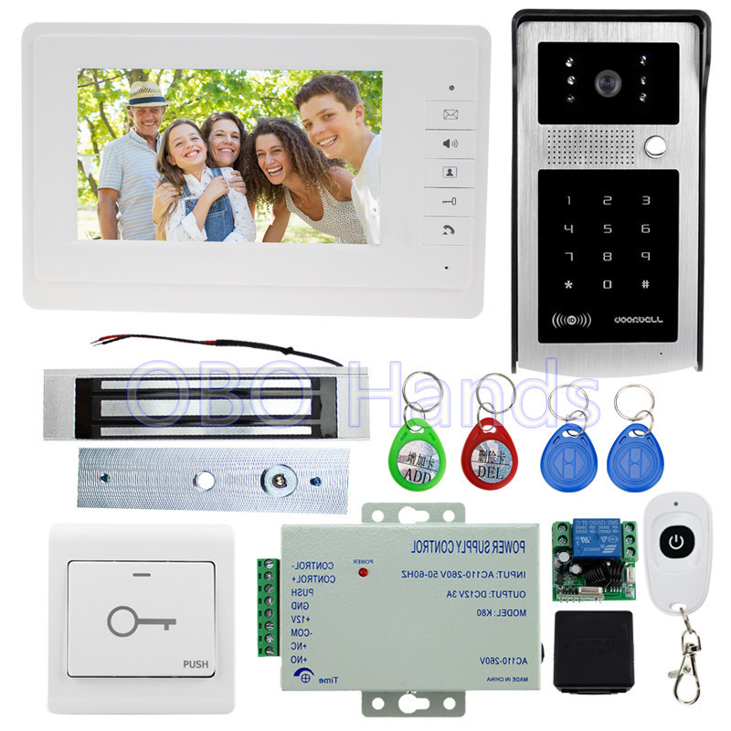 7'' wired color video door phone intercom system kit set with video monitor+IR camera with RFID card reader+180KG magnetic lock 7 wired color video door phone intercom doorbell system kit set with outdoor ir camera white monitor electric control lock