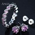 AngelGirl 2017 sistemas de la joyería fina de oro blanco plateado Rosa anillo de Cristal Rhinestone/pendientes Bijouterie establece joyería para las señoras de regalo