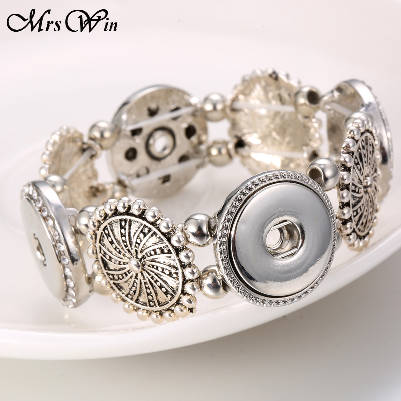 New Snap Jewelry Silver Snap Bracelet 4 Buttons Snap Button Bracelet Bangles Fit 18MM Snap Jewelry for Women Men Bracelets