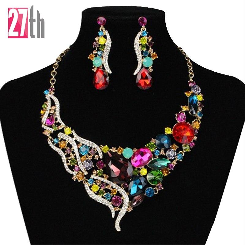 Nueva marca crystal choker collar llamativo cadena de oro collar pendiente de la