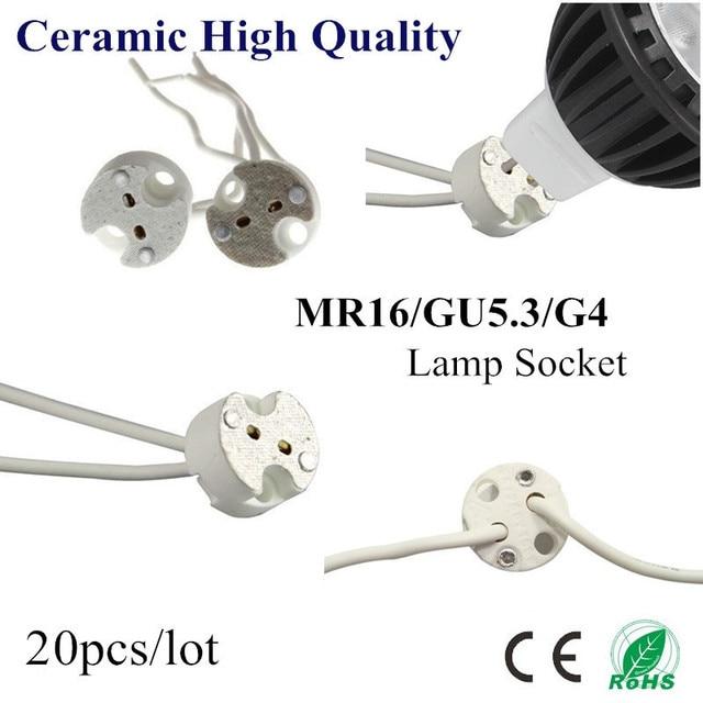 20X MR16 Halter Keramik Lampe Basis GU5.3 GU4 Sockel LED CFL Halogen Licht lampe halter mit Draht Anschluss