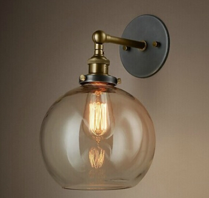 American Countryside Industrial Retro Bar Table Pendant Light 110V-220V Transparent circular glass Incandescent lampsAmerican Countryside Industrial Retro Bar Table Pendant Light 110V-220V Transparent circular glass Incandescent lamps
