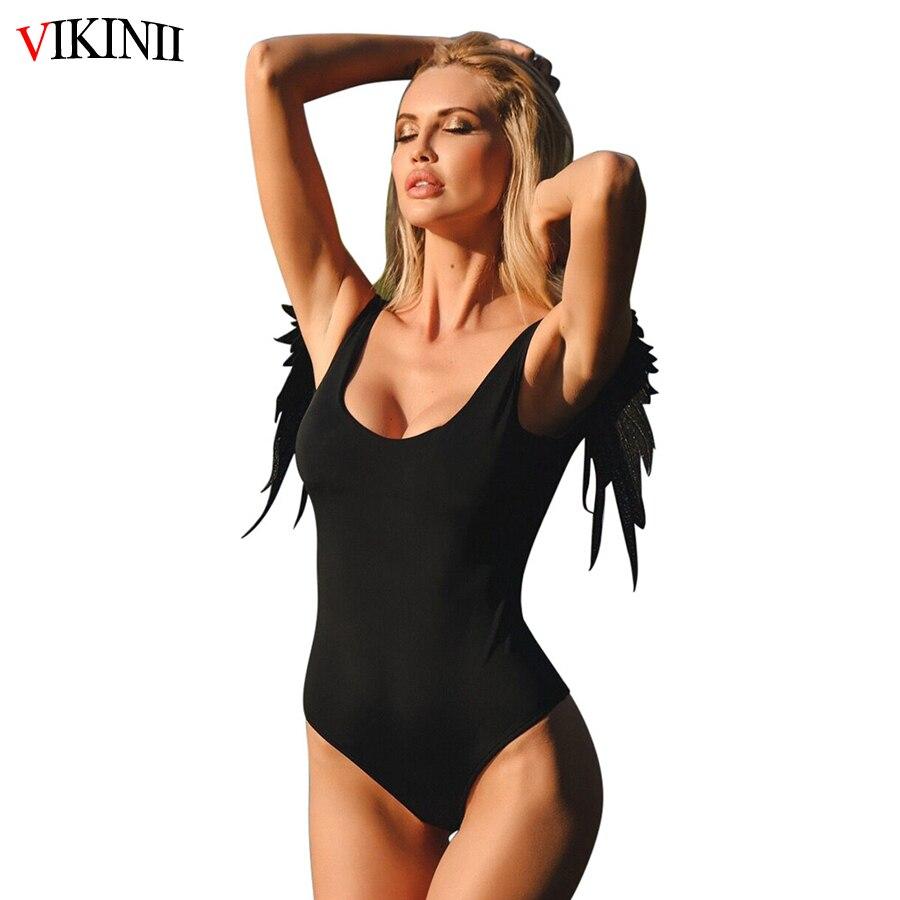 5db56fe1a9598 2019 Retro Sexy Black Swimwear Women One Piece Swimsuit Lace Angel Wings  Backless Brazilian Pink Bathing Suits Women Swim Wear