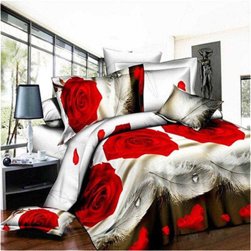 Hot sale 3d bedding sets 4pcs duvet cover set queen bed set red rose nice bedclothes rom ...