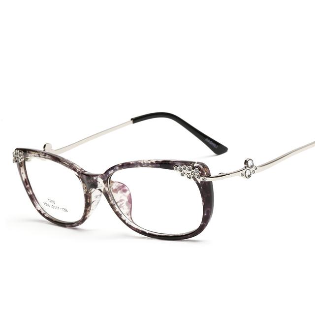 Laura Fadas Estilo Moda Cateye Óculos Armações de Óculos de Strass Decoração de Retalhos de Metal Óculos de Armação TR90 2017
