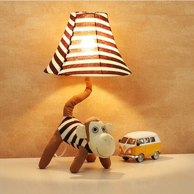 Creative Fabric Monkey Dimmable Led E27 Table Lamp For Children Present  Lovely Cartoon Desk Lamp For