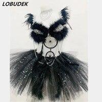 Сверкающие кристаллы Бисер черное перо комплекты пикантные женские костюмы для ночного клуба DJ певица костюм выступление танцора этап нар