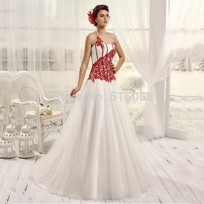 Red And White Lace Wedding Dress: BU Sexy Halter White And Red Wedding Dress Off The