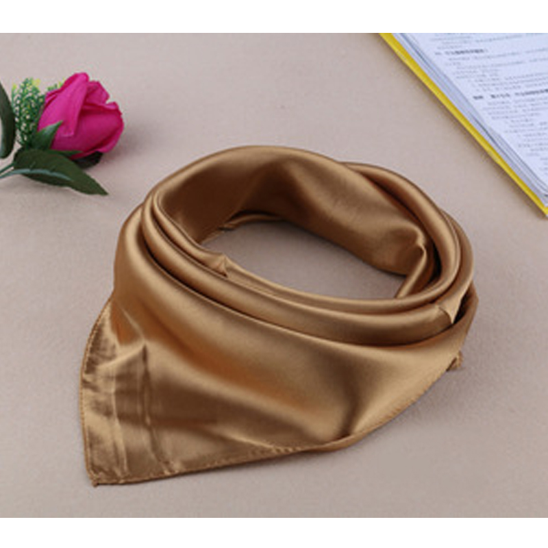 Four seasons new Solid Color Women Silk Scarf Fashion Airline stewardess Occupation 60X60cm small Kerchief Party Gift F1044