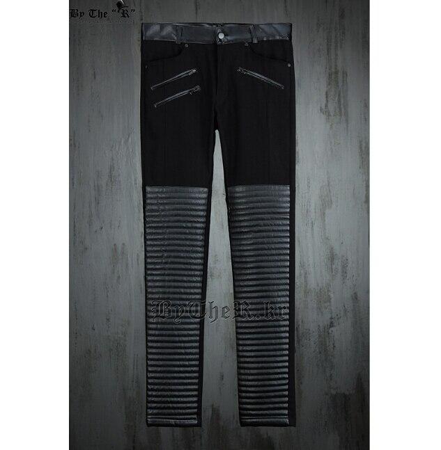 M En Nouvelle Plis Hommes Mode Pu Vague Des Pantalons Sauvage Coutures Cuir 2015 Simple Noir Xxl Costumes Mince Personnalité fqnw8a8d