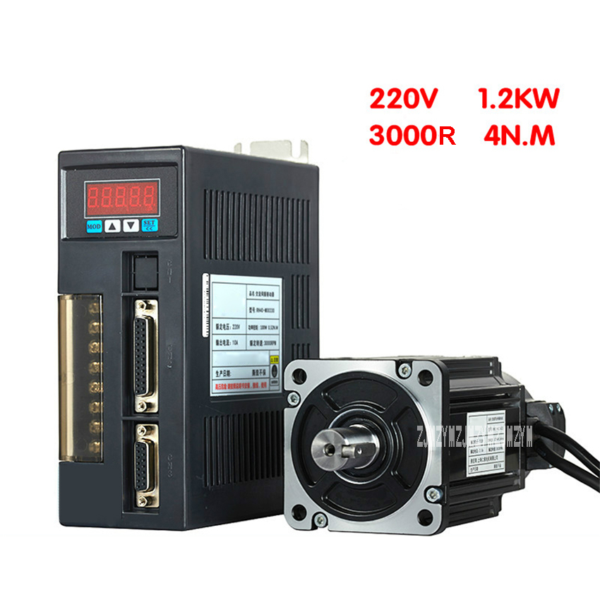 110V/220V RH110ST-M04030 Servo Motor Driver Set 1.2KW 4N.M 3000r/min Single-Phase AC Servo Motor Drive Kit 3M Extension Cord 50w 0 9a 0 16nm 3000r min hf kp053 mr j3 10b servo motor drive kit