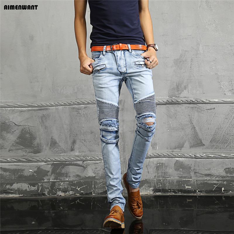 ФОТО AIMENWANT 2017 man blue denim cotton beggar hole biker jeans plus size low waist stretch white skinny jeans mens pants for gift