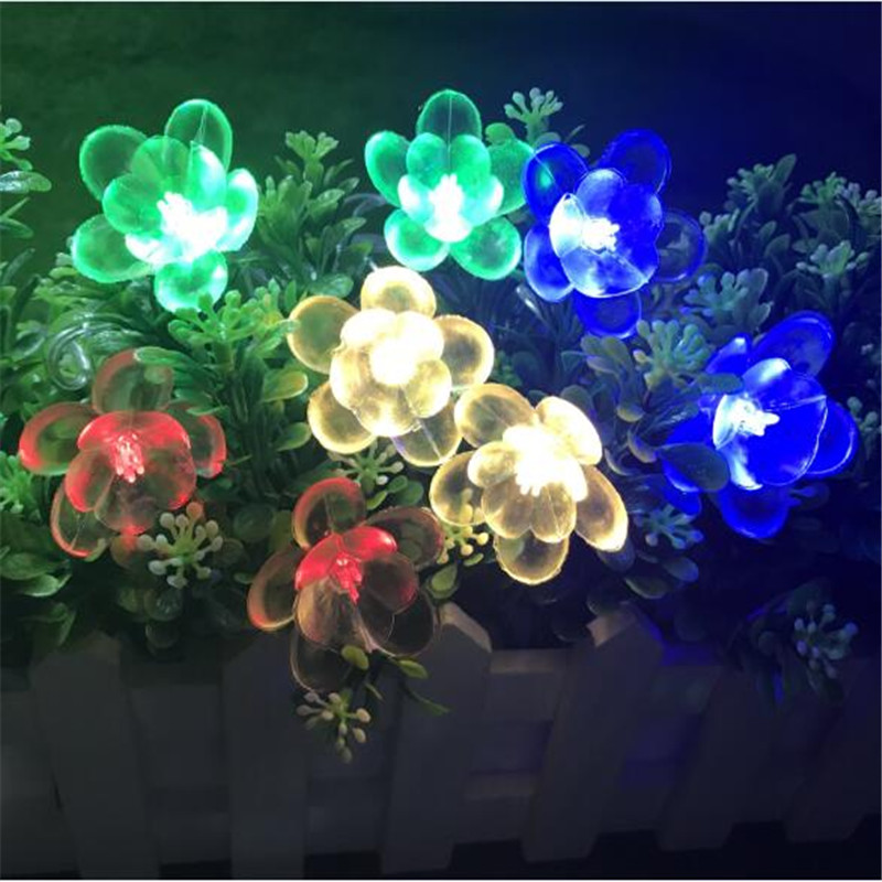 10M 50LEDs 3 Colors Lotus Flower Pendant LED String Light For Lover's Day Holiday Xmas Wedding Events Garland Home Garden Decor