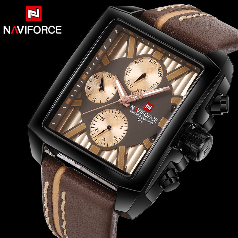 NAVIFORCE Rectangular Watch Male Unique Design Watches Men Luxury Brand Sports Quartz waterproof Wrist Watch relogio masculinoNAVIFORCE Rectangular Watch Male Unique Design Watches Men Luxury Brand Sports Quartz waterproof Wrist Watch relogio masculino