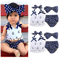 New Baby Girls Clothes Anchor Tassel Tops Navy Polka Dot Briefs 3pcs Outfits Set