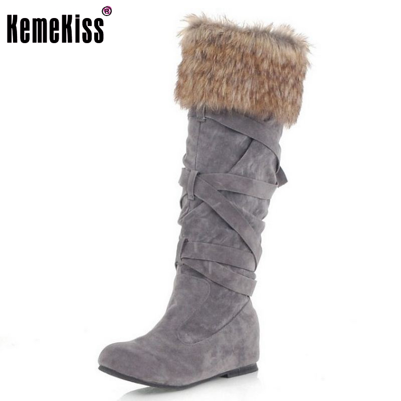 KemeKiss New Cotton Fashion Waterproof Snow Boots Women's Knee High Boots Flat Winter Boots Platform Fur Shoes Women Size 34-43 doratasia big size 34 43 women half knee high boots vintage flat heels warm winter fur shoes round toe platform snow boots