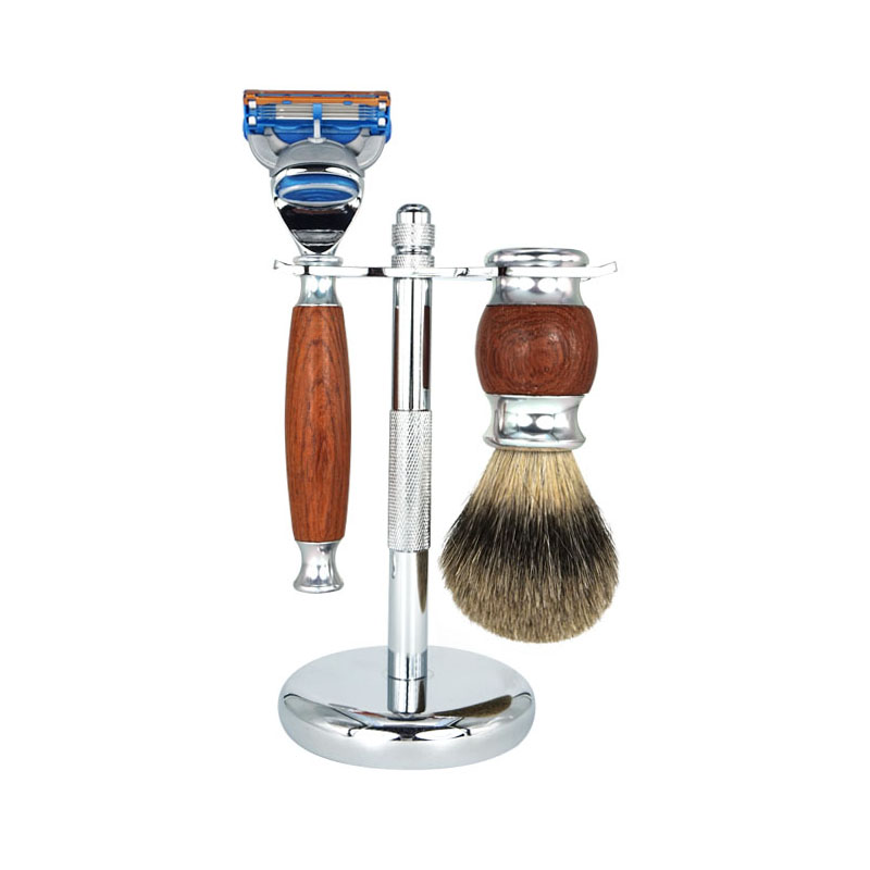 ФОТО 2017 New 3 IN 1 Shaving Sets Men Cleaning Sets Wood Handle Classic Manual Double Edges+ Shaver Kit Badger Brush +Shaving Holder
