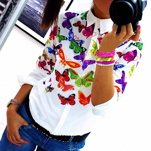 Women's Fashion Butterfly Flower Printing Long-Sleeved Casual   Blouse     Shirt