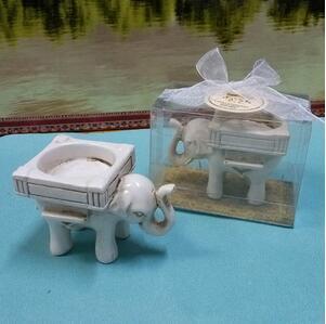 Recuerdos de boda portavelas de vela de elefante de cerámica