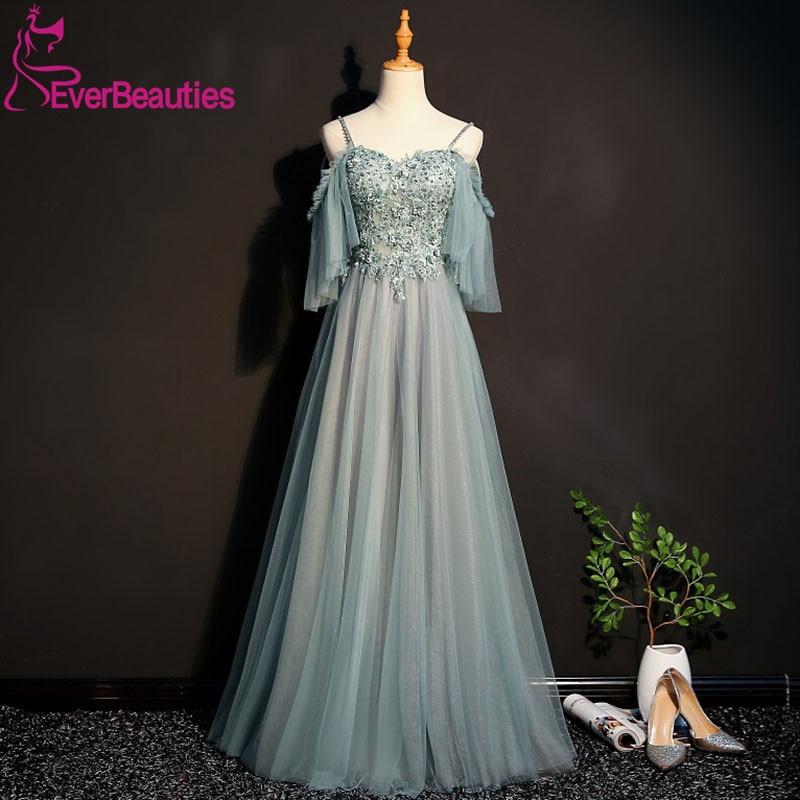 Evening     Dresses   Long 2019 Spaghetti Strap Tulle Party Gowns   Evening   Gowns Vestido De Festa Longo Vestidos De Fiesta Noche