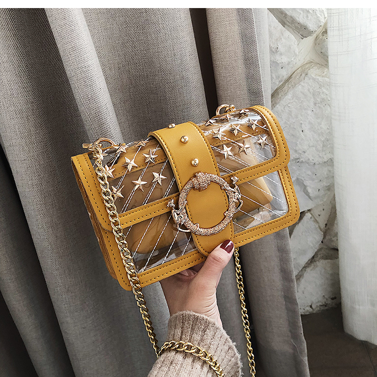YELLOW Starry Transparent Jelly Clear bag Cute Girl Lock Chain Shoulder Messenger bag